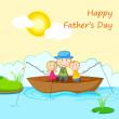 Kids with Father in Boat doing Fishing — Stock Vector #26309137