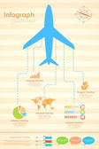 Airplane in Travel Infograph — Stock Vector