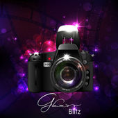Camera in Glamour Background — Stock Vector