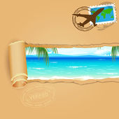 Travel Background for Sea Beach — Stock Vector