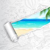 Deniz plaj için arka plan seyahat — Stok Vektör