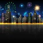City in Celebration — Stock Vector