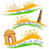 Banner e cabeçalho para celebração da Índia — Vetor de Stock