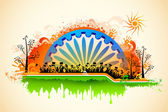 Indian citizen waving flag on tricolor flag — Stock Vector