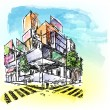 Watercolored Building — Stockvectorbeeld