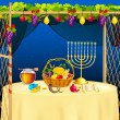 Sukkah for celebrating Sukkot — Stock Vector