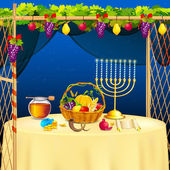 Sukkah for celebrating Sukkot — Stockvector