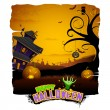 Stock Vector: Haunted House in Halloween Night
