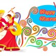 Couple playing Dandiya on Navratri — Stock Vector #32140859