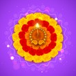 Decorated Diwali Diya on Flower Rangoli — Stock Vector #32463935