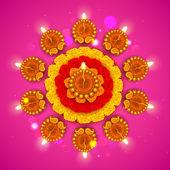 Diwali diya çiçek rangoli üzerine dekore edilmiştir — Stok Vektör