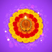 Decorated Diwali Diya on Flower Rangoli — Stock Vector
