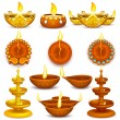 Stock Vector: Collection of Diwali Decorated Diya