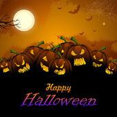 Jack-o-lantern Pumpkin in Halloween night — Stock Vector