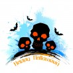 Skull in grungy Halloween Background — Vecteur