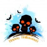 Skull in grungy Halloween Background — Stock Vector
