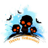 Skull in grungy Halloween Background — Stock Vector