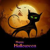 Scary cat in Halloween night — Stock Vector