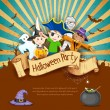 Stock Vector: Kids in Halloween Party