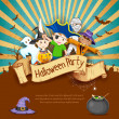 Kids in Halloween Party — Stock Vector