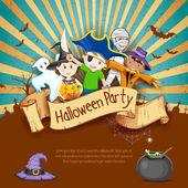 Kids in Halloween Party — Stock Vector