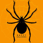 Spider on web for Halloween Background — Stock Vector