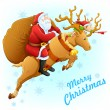Santa on reindeer with Christmas gift — Stock Vector