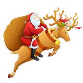 クリスマスの贈り物とトナカイのサンタ — ストックベクタ