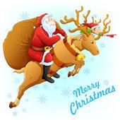 Santa en reno con regalo de navidad — Vector de stock