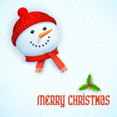 Snowman wearing scarf in Christmas Card — Stock Vector