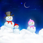 Snowman Family in Christmas Night — Stock Vector