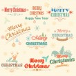 Retro Vintage Merry Christmas labels — Stock Vector