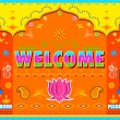 Welcome Background in Indian Truck paint style — Imagens vectoriais em stock