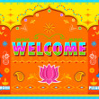 Welcome Background in Indian Truck paint style — Векторная иллюстрация