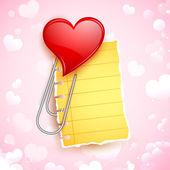 Heart Shape Paper Clip — Stock Vector