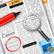 Stock Vector: Job Search in Newspaper