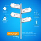 インフォグラフィックを背景に方向ポスト — ストックベクタ