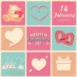 Stock Vector: Retro Happy Valentines Day Background