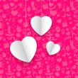 Hanging Heart in Seamless Love Background — Stock Vector