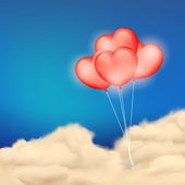Heart Balloon in Cloudscape — Stock Vector