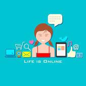 Life is Online — Stock Vector