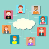 Social Media Cloud Computing Network — Stock Vector