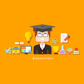 Graduate with Education icon — Stock Vector
