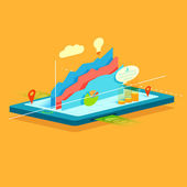 Business Graph on mobile screen — Stock Vector