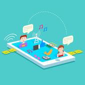 Mobile Social Media — Stock Vector