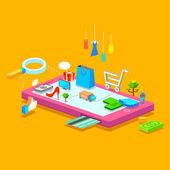 Mobile Shopping — Stock Vector
