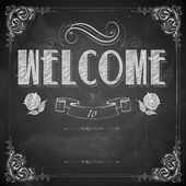 Welcome written on chalkboard — Stock Vector