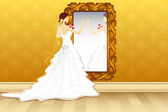 Bride in front of Mirror — Stock Vector
