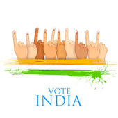 Hand with voting sign of India — Stock Vector