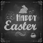 Happy Easter on chalkboard — Stock Vector